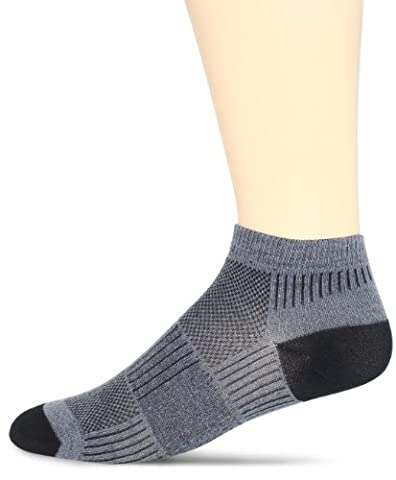 WrightSock Men's Coolmesh II Lo Single Pack Socks, Grey, X-Sock Size:10-13/Shoe Size: 6-12 - Anti Blister Double Layer Cool