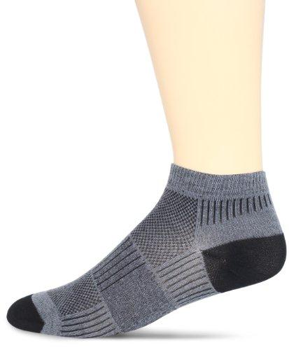 (WrightSock Men's Coolmesh II Lo Single Pack Socks, Grey, Sock Size:10-13/Shoe Size: 6-12)