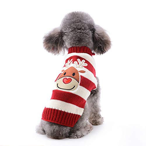 Tengzhi Christmas Dog Sweaters Xmas Dog Holiday Sweaters New Year Sweater Jumper Winter Pet Clothes Small Medium Dog Cat Costume (Jumpers Dogs Christmas)