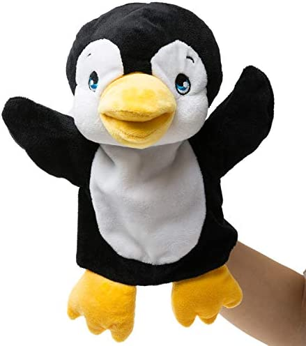 HollyHOME Plush Zoo Friends Hand Puppet Animal Puppet Penguin for Kids Storytime 14 Inches Black