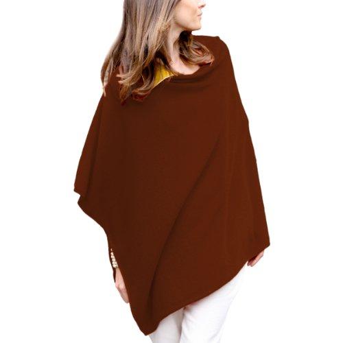 Parisbonbon Women's 100% Cashmere Crew Neck Draped Poncho Color Rust Size 0X