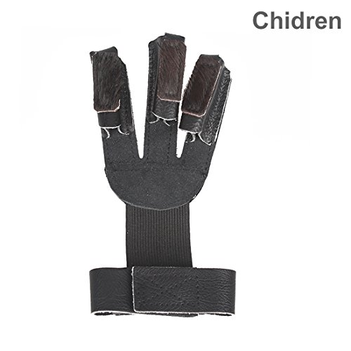 Krayney Adult Youth Leather Gloves Finger Protector, Shooting Hunting Arrow Bow Archery Gear Accessories (Black-Youth Size)