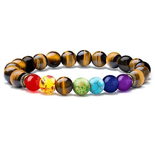 M MOOHAM Tiger Eye Stone Chakra Bracelet - 8mm Natural Gemstone Chakra Beads Tiger Eye Stone Elastic Bracelet, Stress Relief Yoga Beads Elastic Semi-Precious Anxiety Bracelet for Women
