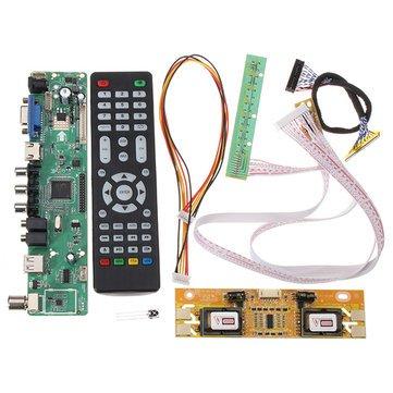 Compatible SCM & DIY Kits Module Board - V56 Universal Driver Board/VGA / / USB Interface + 4 Lamp Inverter + 30pin 2ch-8bit Lvds Cable - 1 x V56 Universal TV LCD Driver Board PC V
