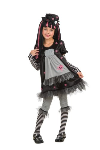 Rag Doll Striped Costumes (Rubie's Drama Queens Child Goth Doll - Ista Costume - Large (Ages 8 to 10))