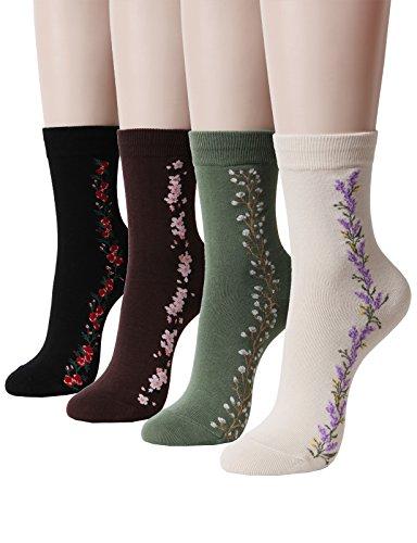 OSABASA Soft Cotton Crew Socks, Flower Print Womens Socks (KWMS0398-SET4)
