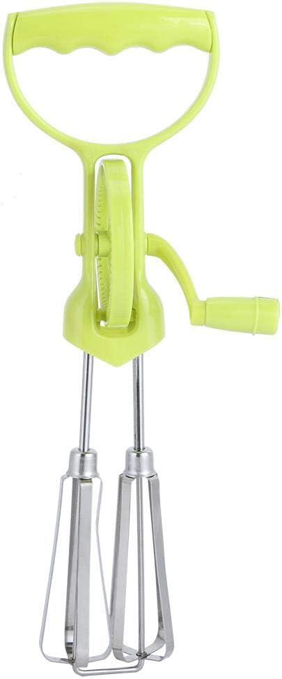Manual Handheld Stainless Steel Egg Blender Mixer Beater Hand Blender Home Kitchen Cooking Tool, Green