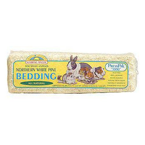 Sun Seed Company SSS18005 12-Pack Northern White Pine Press Pack Small Animal Bedding, 600 Cubic Inch
