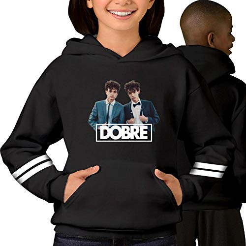 1mq Cuff - Pullover Kids Twins_Dobre Hoodies for Girls Boys Hoody Sweatshirts Soft Hooded Tops with Pockets Black M