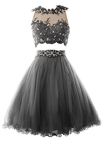 Beonddress Damen Heimkehr Elegant Spitzen Grau Kleid Zwei Brautjungfer Rundhals Schwarze Stück Abendkleid Cocktailkleid rRrq4