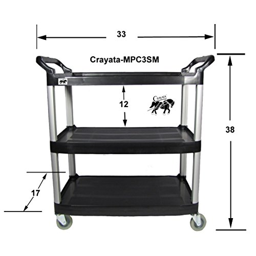 Crayata Rolling Utility Cart, MPC3SM-B 3 Shelf, Black, Small (Small Cart With Handle compare prices)