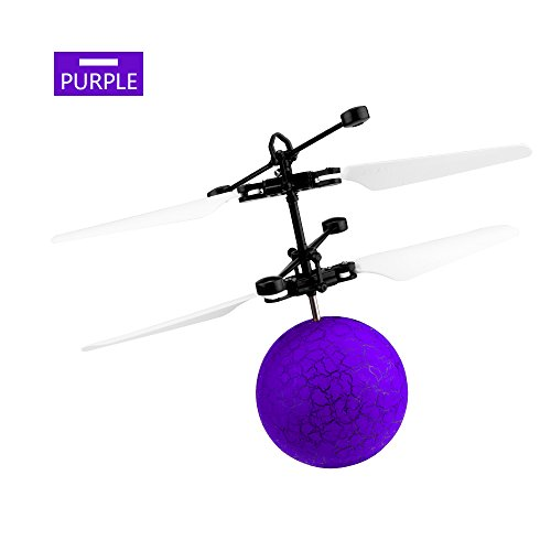 RC Flying Ball DDSKY Mini Infrared Induction Helicopter Ball Magic Flying Toys Christmas Gifts for Kids Colorful Shining Flashing LED Light in Purple