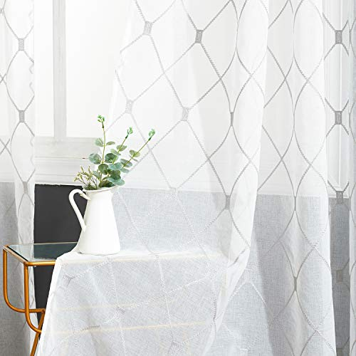 Top Finel White Sheer Curtains 90 Inches Long Grey Embroidered Diamond Grommet Window Curtains for Living Room Bedroom, 2 Panels