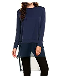 Meaneor Women Layered Knitted High-low Hem Long Sleeves Tunic Top
