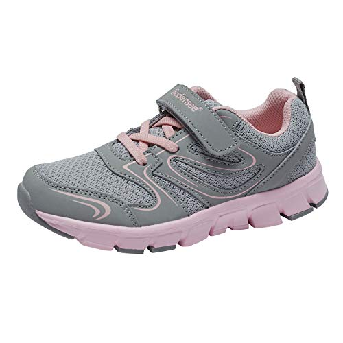 Tennis Arch - BODENSEE Unisex Children Little Kids Sneakers for Girls Velcro Lightweight Low Top Sports Shoes Grey, 11 Little Kid / EUR 28