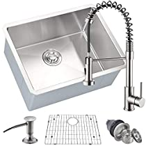 MOWA HMU2318F 23 Inch Undermount 16 Gauge Stainless Steel Bar Prep Kitchen Sink, 10-inch Deep Laundry Sink w/Basket Strainer & Protection Grid + Brushed Nickel Pull-down Faucet Combo