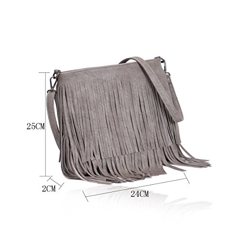 Grey Leather Handbag Light Body Fringe Chic G003 Women's Cross Tassel Shoulder Bag Faux Ladies AxHnqZx
