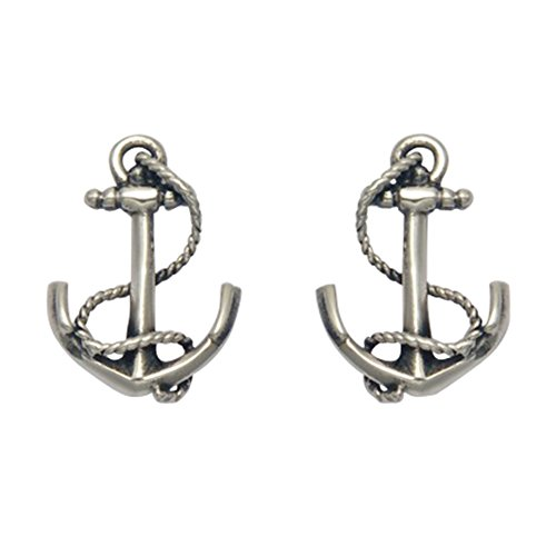 Stainless Gold Anchor Stud Earrings - 9