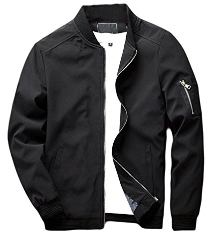 sandbank Men's Slim Fit Lightweight Softshell Flight Bomber Jacket Coat (US M = Asian Tag 2XL, Black #2)