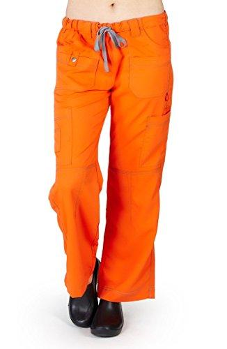 (M&M SCRUBS Women's Super Soft, Comfort Stretch, Junior Fit Contrast Stitch Cargo Pants XL Orange/Grey)