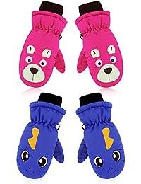 2 Pairs Kids Ski Mittens Children Winter Windproof Gloves Warm Sports Snow Mittens (Pink and Dark Blue)