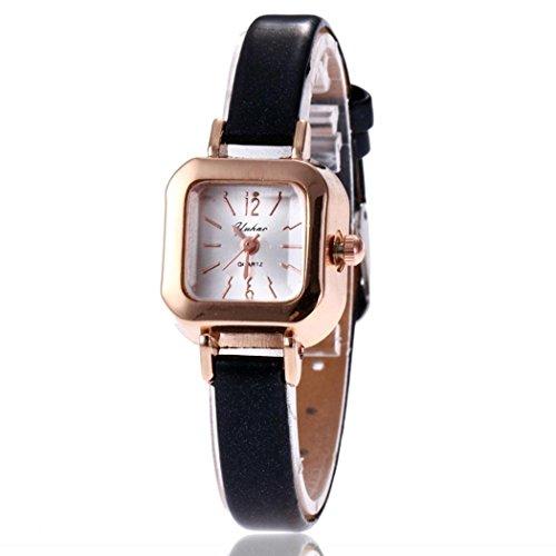 Keland Women Fashion Synthetic Leather Band Square Analog Quartz Wrist Watch Bracelet Bangle