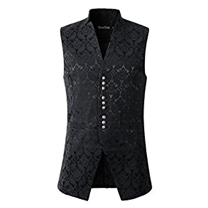 DarcChic Mens Gothic Steampunk Vest Waistcoat Victorian Damask Stand-up Collar Tailcoat