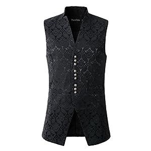 DarcChic Mens Damask Waistcoat Vest Waistcoat Victorian Steampunk Gothic Stand-up Collar