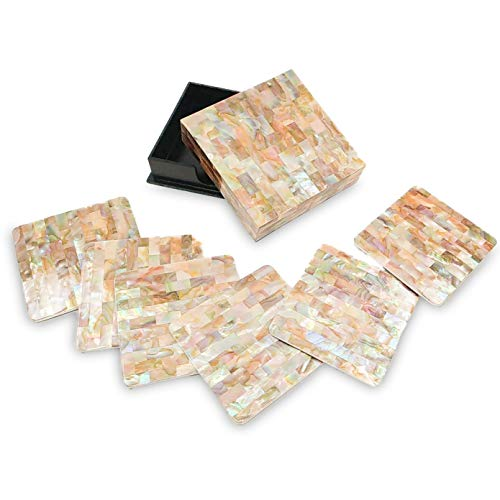 Coaster Pearl - Ann Lee Design Mother of Pearl Coaster, Set of 4 (Brown, 3.75)