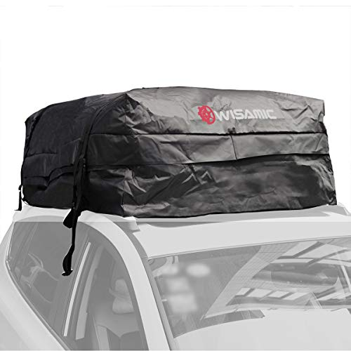 Wisamic Car Top Carrier Waterproof - 30 Cubic Feet Rooftop Cargo Bag Carrier, Luggage Carriers with Wide Straps for Car Canvas Jeep or SUV ()