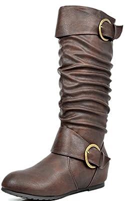DREAM PAIRS Women's Knee High Low Hidden Wedge Riding Boots