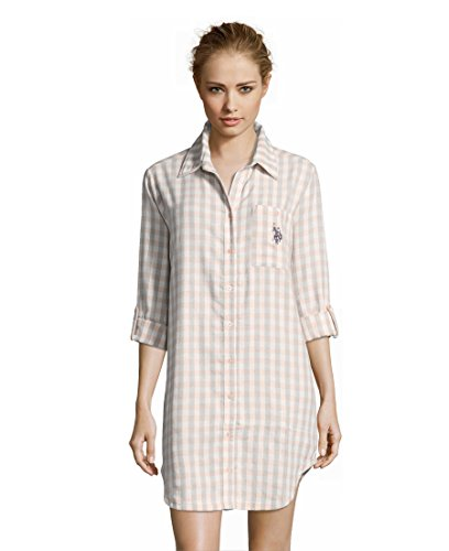 Plaid Flannel Pajama Top (U.S. Polo Assn. Women's Cotton Flannel Button Down Plaid Dormshirt Pajamas Light Peach Medium)