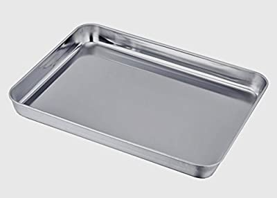 Sixly Stainless Steel Compact Toaster Oven Pan Tray Ovenware Professional, Heavy Duty & Healthy, Deep Edge, Warp Resistant Nonstick Baking Pan 10.4''x8.1''x1'', Silvery