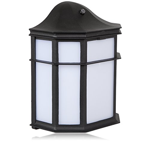 Maxxima Black Aluminum Outdoor LED Wall Pack Light with Dusk to Dawn Photocell Sensor, 1200 Lumens, 3000K, Decorative, Sconce Energy Star by Maxxima (Image #2)