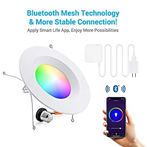 MustWin Smart Retrofit Led Recessed Lighting 6 inch LED Downlight, Bluetooth Mesh LED Can Lights Color Changing, Voice Control via Alexa, Dimmable RGBCW 15W*4 Pack(Hub Included)
