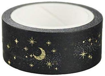 Ogquaton Black Moon Star Rubans Washi D/écoratifs Washi Ruban De Masquage Pour Artisanat Scrapbooks Bricolage Artisanat Et Emballage De Cadeaux Fournitures De F/ête De Bureau Or Cr/éatif et Utile