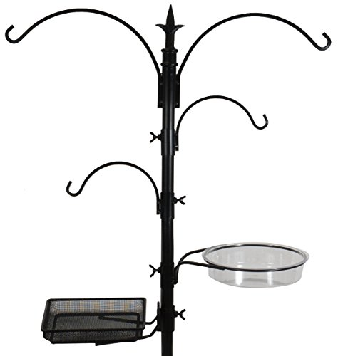 Sorbus Bird Feeding Bath Station, Metal Deck Pole for Bird Feeders, Great for Attracting Birds Outdoors, Backyard, Garden