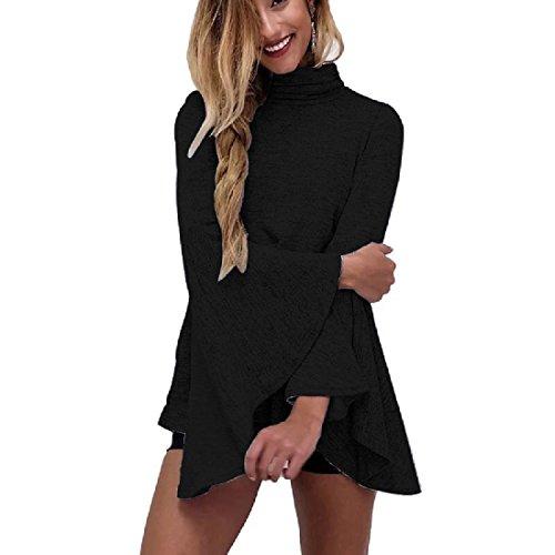 Coolred High Dress Black Beach Stylish Mini Women Turtleneck SFq5nTrpS
