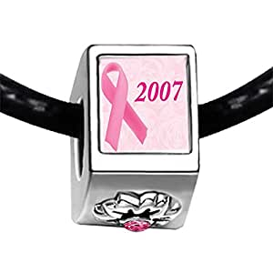 Chicforest Silver Plated 2007 pink Aids Ribbon Photo Light Rose Crystal October Birthstone Flower Charm Beads Fits Pandora Bracelet