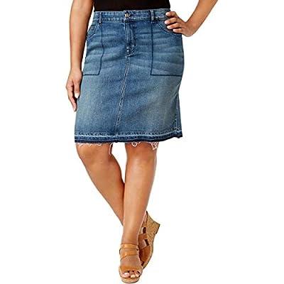 Style & Co. Womens Plus Denim Released Hem Denim Skirt