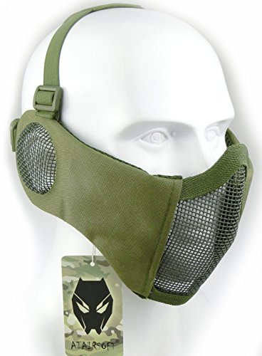 Mask Paintball Usa Flexible (ATAIRSOFT Tactical Airsoft CS Protective Lower Guard Mesh Nylon Half Face Mask with Ear Cover OD)