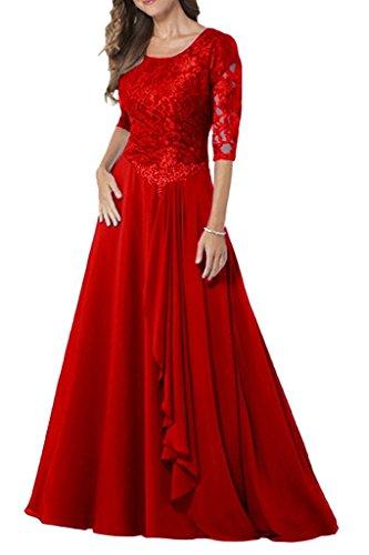 Navy Brautmutterkleider Blau Langarm Damen Formal Dunkel La Festlichkleider Lang Spitze Rot Chiffon Braut Rock mia Abendkleider 0EwnqFH