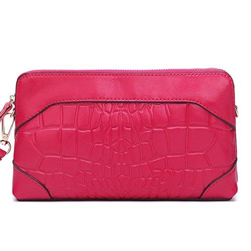 SUXCGE - Bolso al hombro de piel auténtica para mujer Talla Unica Rose red 21408