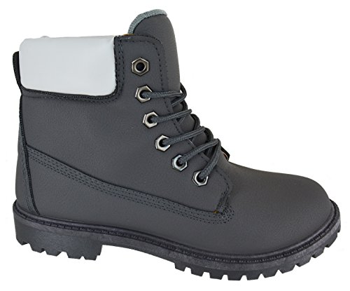 FEMMES combat décontracté prise semelle en caoutchouc Bottine lacet Chaussures pointure 3-8 - Gris, EU 40
