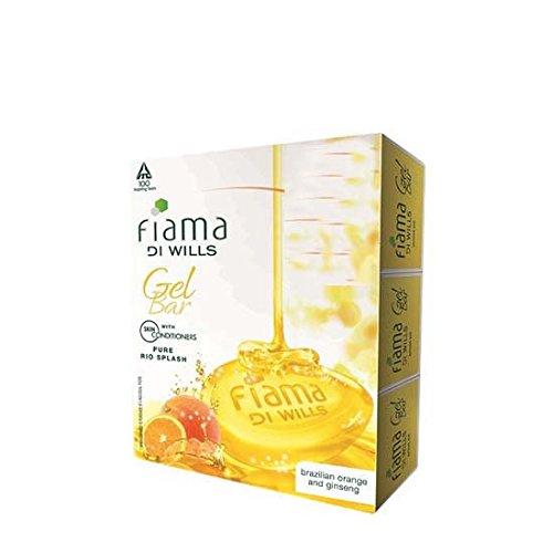 (4 X Fiama Di Wills Gel Bar Bath Soap PURE RIO SPLASH Skin Conditioner Brazilian Orange & Ginseng Ext (75g X 4 Bars Pack))