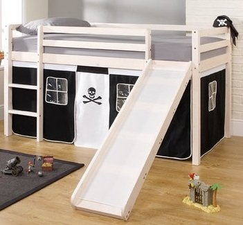 Noa And Nani Cabin Bed Mattress With Slide Pirate Tent In