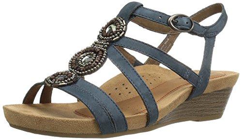 Rockport Women's Hannah Platform Sandal, Blue, 9.5 M US