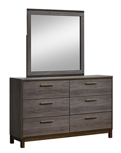 Furniture of America Wendler Modern 2 Piece Dresser and Mirror Set, One Size, Antique Gray - Set includes (1) dresser and (1) mirror; Contemporary style; 2-tone antique gray finish Solid wood and wood veneers; (6) drawers Accent handle pulls with smooth metal glides - dressers-bedroom-furniture, bedroom-furniture, bedroom - 41gFDoUhsyL -