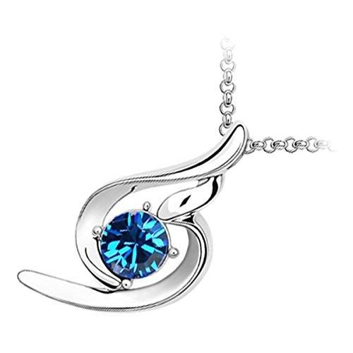 GWG 18K White Gold Plated Sparkling Round Sapphire Blue Crystal Inline Spiral (Blue Spirals Teardrop Pendant)