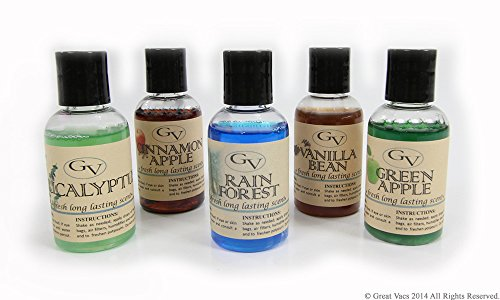 5 Pack Vanilla Bean, Cinnamon Apple, Green Apple, Rain Forest, and Eucalyptus vacuum fragrance scents for Rainbow, Rainmate, Thermax, Hyla, & Humidifiers 2 fl oz
